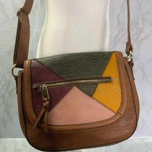 Boho Patchwork crossbody bag purse faux leather